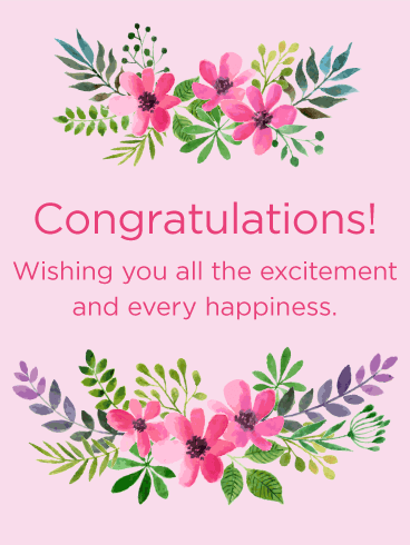 Pink Flowers Congratulations Card