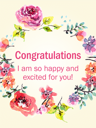Flower Wreath Congratulations Card