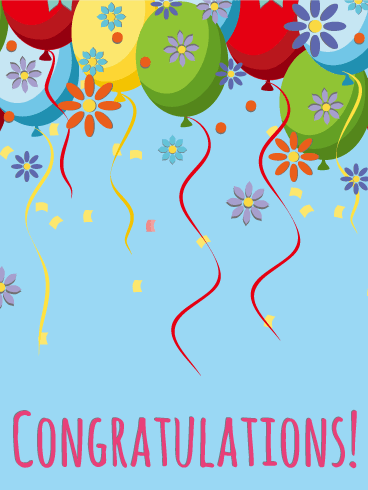 Balloon & Flower Congratulations Card