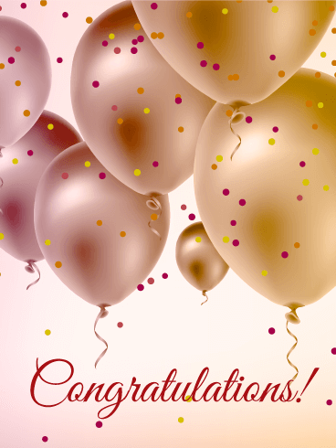 Pearl Color Balloons Congratulations Card