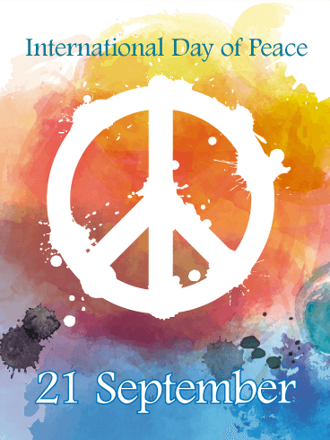 Water Painted Design International Day of Peace Card