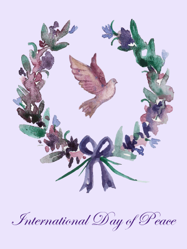 Flower Wreath International Day of Peace Card