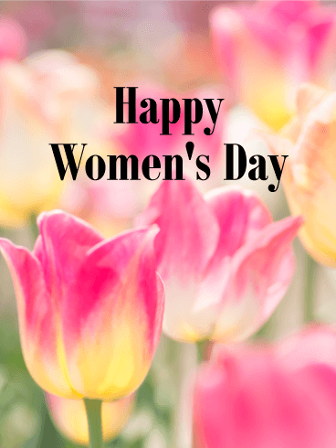 Pink Tulip International Women's Day Card