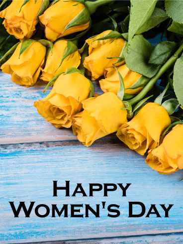 Yellow Rose International Women's Day Card