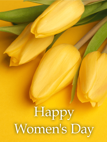 Yellow Tulip International Women's Day Card