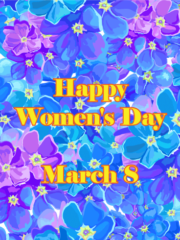 Purple & Blue Flower International Women's Day Card