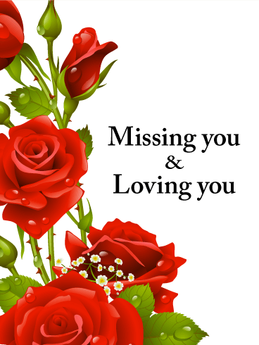 Red Rose Miss You Card