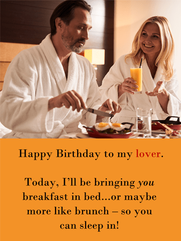 Brunch In Bed – Romantic Birthday Wish Card for Him