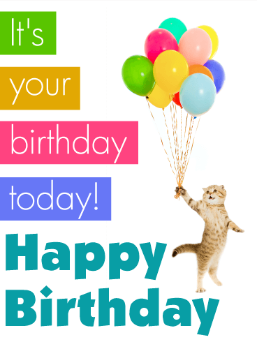 Cat & Balloon  Birthday Card