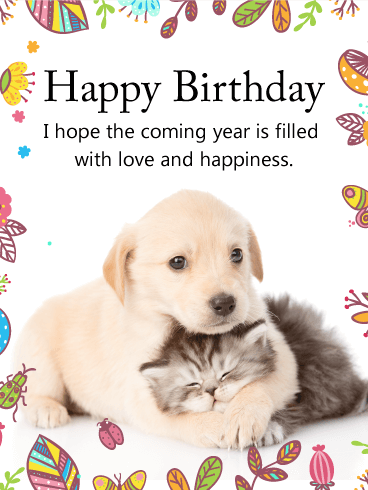 Cuddling Dog Cat Happy Birthday Card