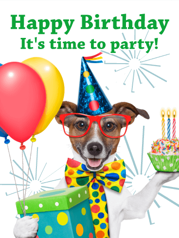 Party Dog - Animal Birthday Card