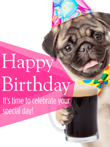Cheers To Your Birthday Pug Card