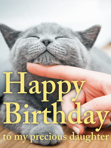 Playful Cat Happy Birthday Card for Daughter