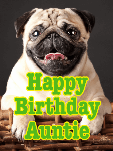 Cheerful Pug Happy Birthday Card For Aunt Birthday Greeting