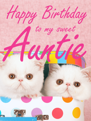 Fluffy Cat Happy Birthday Card For Aunt