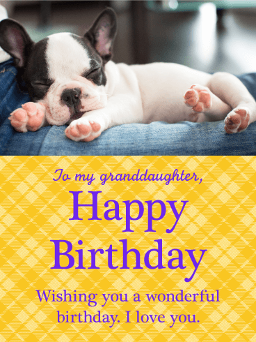 Sleeping Pug Happy Birthday Card for Granddaughter