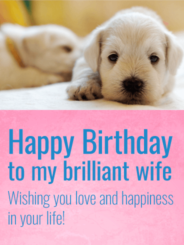 Charming Puppy Happy Birthday Card for Wife