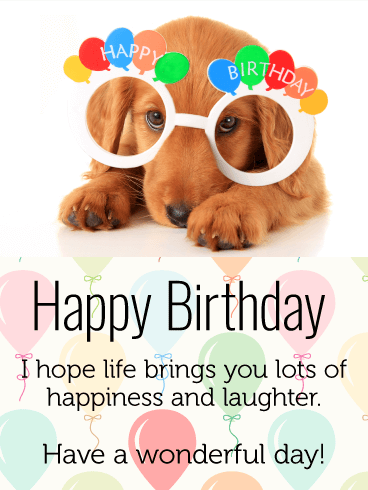 Celebrating Dog Happy Birthday Card For Kids Birthday Greeting