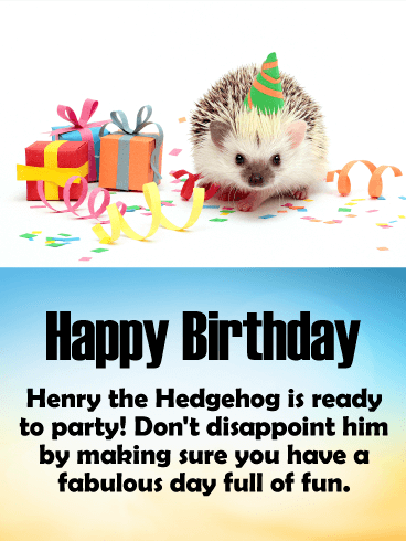 Adorable Birthday Hedgehog Card