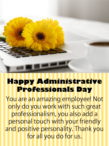 Administrative professionals day cards 2019 happy administrative to an amazing employee happy administrative professionals day card m4hsunfo