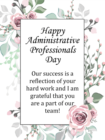 Pink Rose Happy Administrative Professionals Day Card