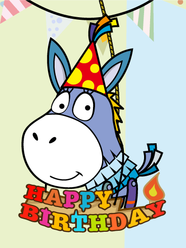 Donkey Piñata Birthday Card