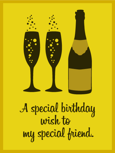 Birthday Champagne  Art Card for Friends