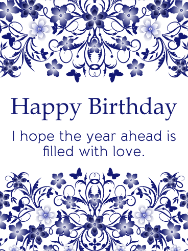 Blue Flowered Birthday Card