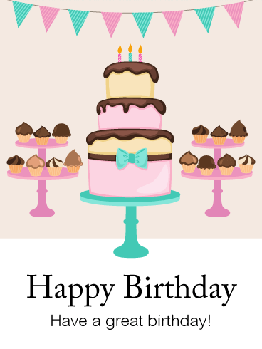 Birthday Party Cake Card