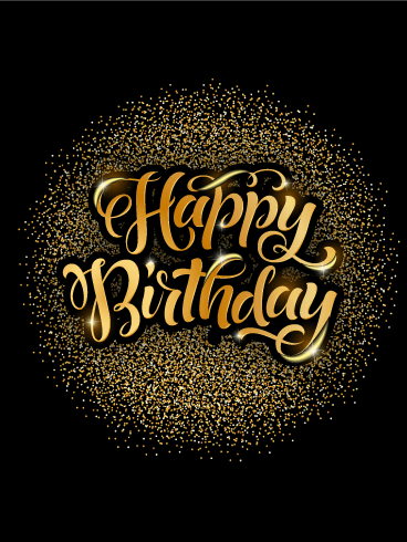 Golden Lights Happy Birthday Card