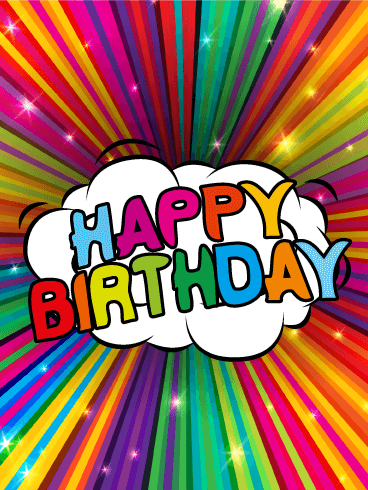 Colorful Rainbow Happy Birthday Card