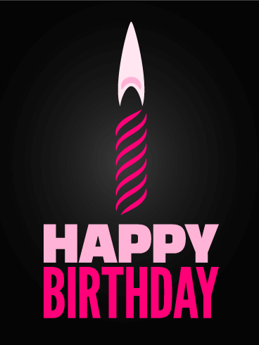 Pink Candle Happy Birthday Card