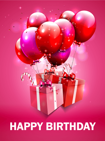 Fantastic Pink Birthday Balloon Card Birthday Greeting Cards By
