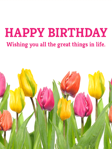 Pink And Yellow Tulip Birthday Card