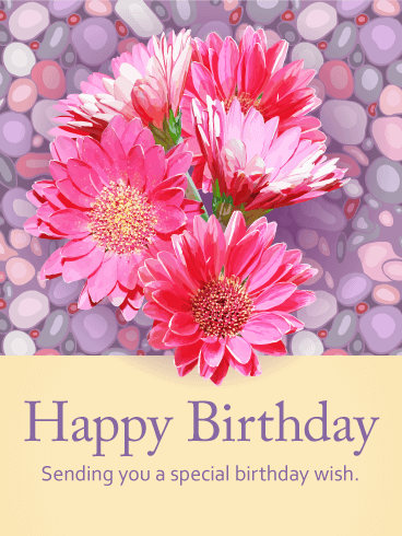 Splendid Pink Gerbera  Birthday Card