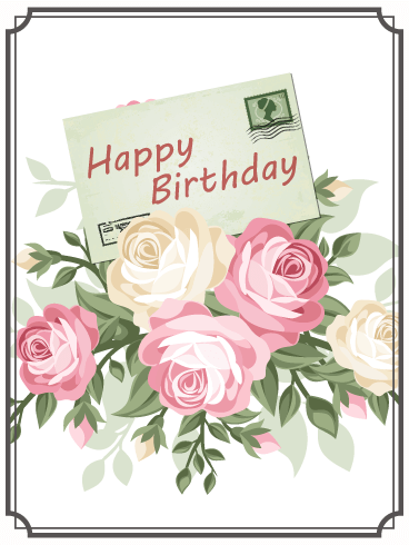 Birthday Rose & Letter Card