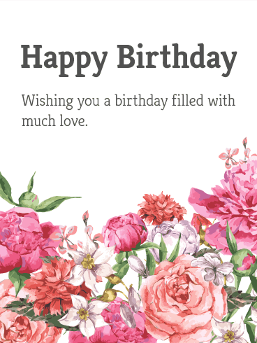 Garden Flower Happy Birthday Card Birthday Greeting Cards By Davia