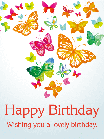 Rainbow Colored Butterfly Birthday Card