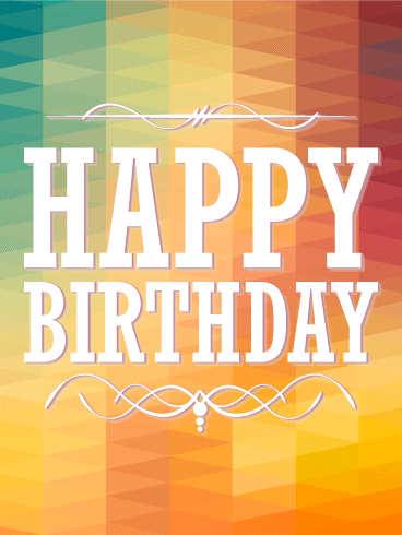 Rainbow Color Happy Birthday Card