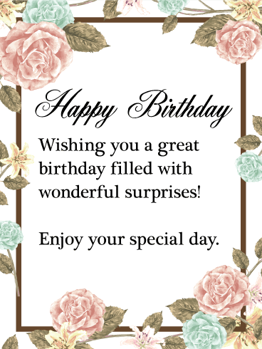 Enjoy Your Special Day Happy Birthday Wishes Card Birthday