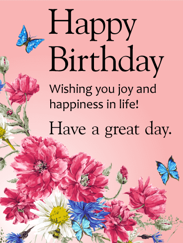 Wishing You Joy and Happiness! Happy Birthday Card