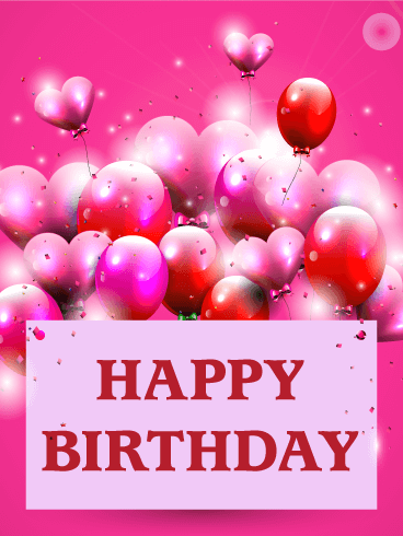 Pink Birthday Balloon Card