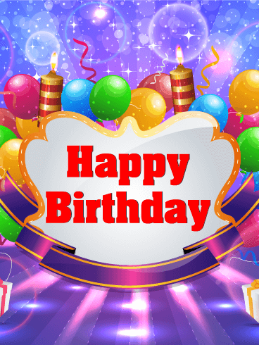 Shimmering Happy Birthday Party Card