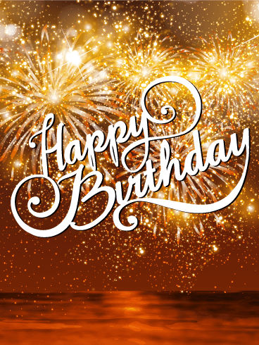 Beautiful Sunset & Fireworks Happy Birthday Card
