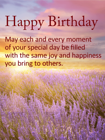 Lavender Happy Birthday Wishes Card