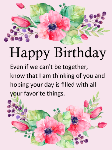 thinking of you flower happy birthday wishes card - Happy Birthday Cards Flowers