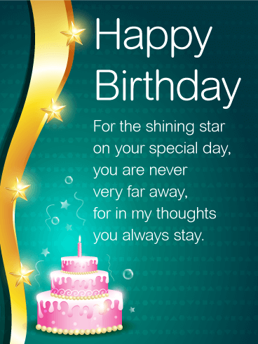 Shining Star Happy Birthday Wishes Card