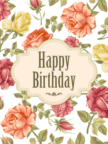 Elegant Birthday Rose Card
