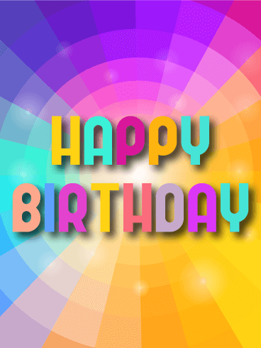 Rainbow Circle Happy Birthday Card