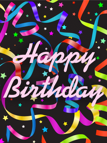 Colorful Stars & Confetti Birthday Card